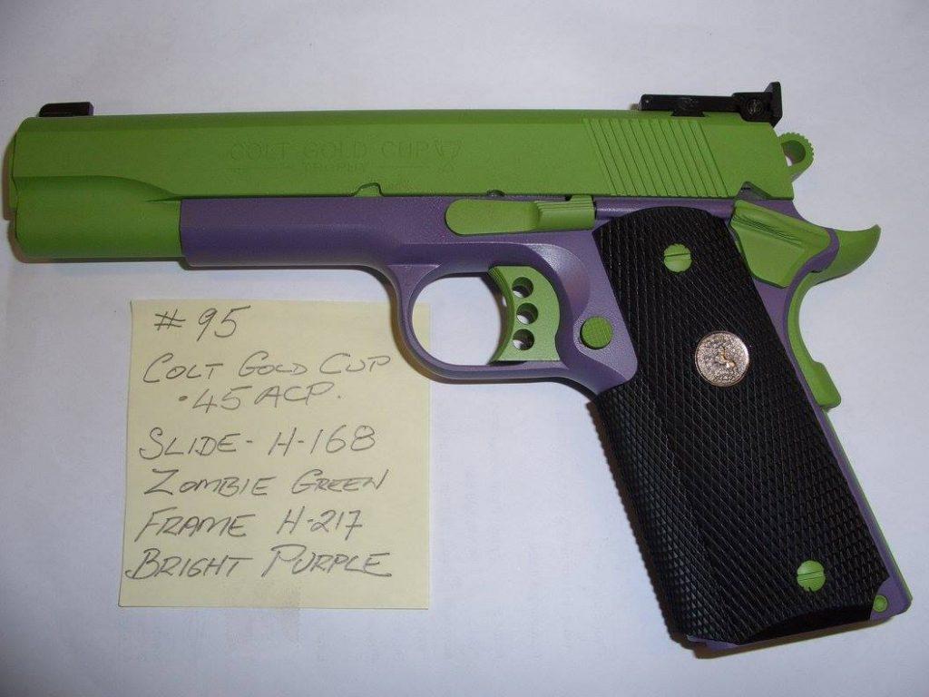 Custom cerakote firearm coating applied to a handgun.
